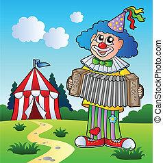 fisarmonica, gioco, pagliaccio, tenda