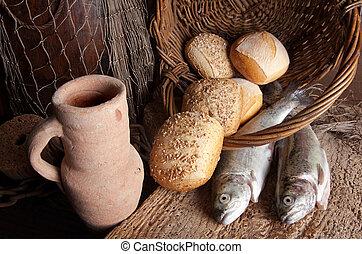 fish, bread, brocca, vino