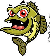 fish, carattere, carino, occhi, basso, mascotte, cartone animato, -, rosso, grande, vettore
