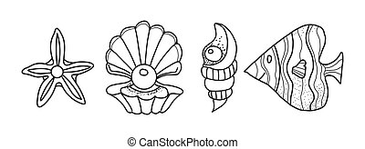 fish., carino, starfish, illustrazione, cartone animato, abilità, color., linea, adulti, style., sgusciare, bambini, vetkron, motore, coloritura, nero, libro, multa, sviluppo