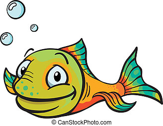 fish, cartone animato, felice
