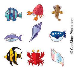 fish, cartone animato, icone