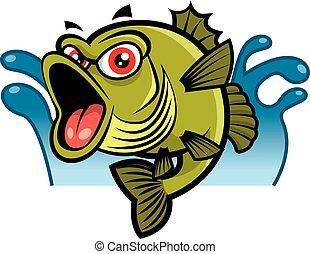 fish, fondo, carino, occhi, basso, mascotte, cartone animato, character., -, acqua, schizzo, rosso, grande, vettore