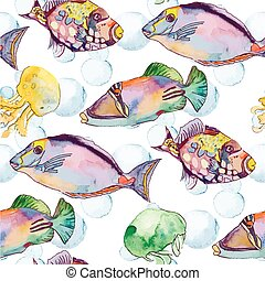 fish., mare, jellyfish., pattern., oceano, tropicale, vector.