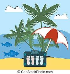 fish., ombrello, vacation., isola, sotto, resto, albero., palma, mare, valigia, ardesie, viaggiatore, robinson., spiaggia, mare