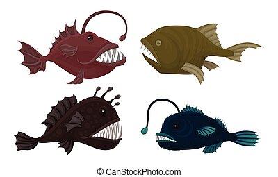 fish, set., profondo, creature, vettore, marino, teeth affilato, pericoloso, mare