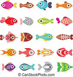 fish, vettore, set, icona