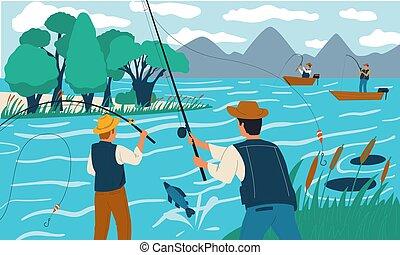 fishing., verghe, pescatori, estate, persone, vacanza, fish, illustrazione, attività, leisure., maschi, felice, ricreativo, scena, o, vettore, hobby., lake., vacanza, riva, boat.