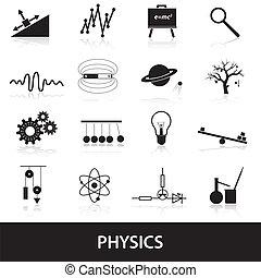 fisica, set, eps10, icone