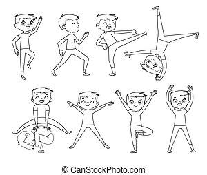 fisico, exercises., contorno, ragazzo, poco, disegno