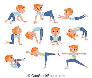 fisico, taglio, exercises., carattere, ragazzo, cartone animato, poco, divertente