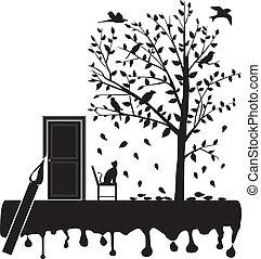 fissare, albero, uccelli, gatto