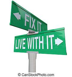 fissare, tolerate, esso, due, vivere, segni, problema, o, migliorare