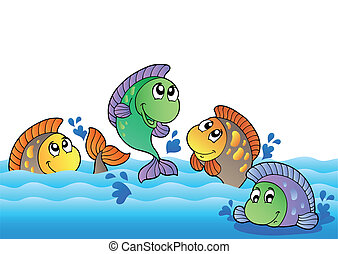 fiume, acqua dolce, carino, pesci