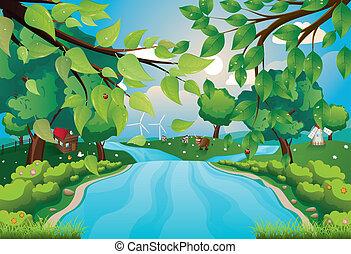 fiume, colline