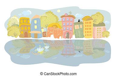 fiume, estate, città, banchina
