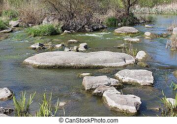 fiume, granito, grande, natura, steppe., stones.