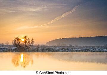 fiume, inverno, alba, sopra
