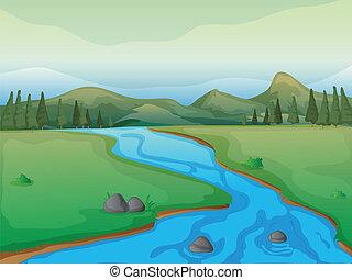 fiume, montagne, foresta