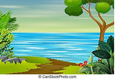 fiume, natura, fondo, paesaggio