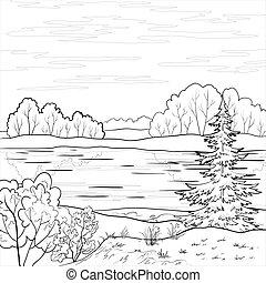 fiume, paesaggio., foresta, contorno