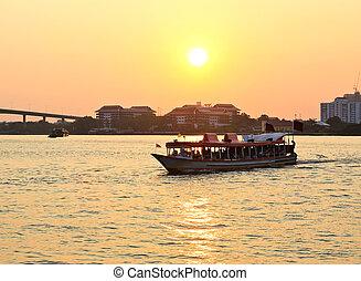 fiume, phraya, tramonto, boat., chao