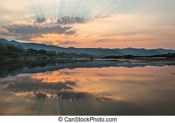 fiume, tramonto, paesaggio
