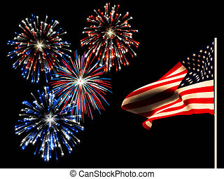 flag., americano, fireworks, giorno, indipendenza