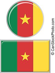 flag., camerun, quadrato, icona, rotondo