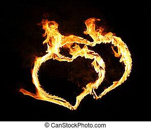 flamy, simbolo, nero, luminoso, fondo