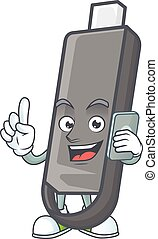 flashdisk, telefono, felice, immagine, parlante