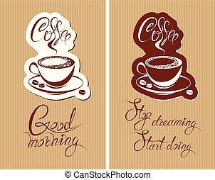flayer, testo, progetto serie, sognare, mattina, tazza, menu, calligraphic, inizio, scritto, cafe., caffè, buono, sagoma, fermata, doing., fondo, mano, ristorante, croissant, coffeehouse., o