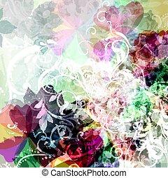 florals, fondo, floreale, astratto