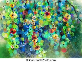 floreale, acquarello, estrarre dipingere