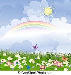 floreale, arcobaleno, paesaggio