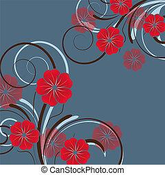 floreale, astratto, fiori, disegno