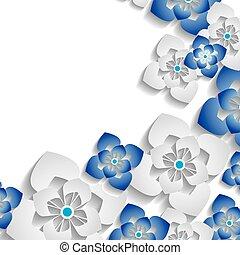 floreale, astratto, fondo, 3d