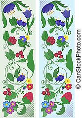 floreale, astratto, set, ornamenti