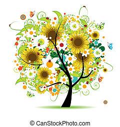 floreale, bello, albero