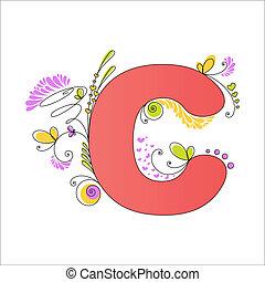 floreale, c, alphabet., colorito, lettera