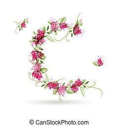 floreale, c, disegno, tuo, lettera