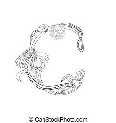 floreale, c, font, lettera