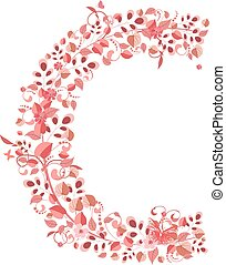 floreale, c, romantico, lettera