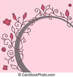 floreale, carino, cornice, girly