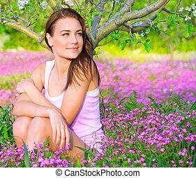 floreale, carino, ragazza, giardino