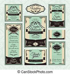 floreale, cartelle, set, matrimonio