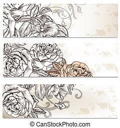 floreale, cartelle, set, rose, fiori, affari, disegno