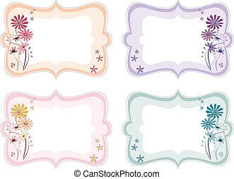 floreale, colori, differente, etichette