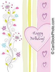 floreale, compleanno, cartolina auguri, felice