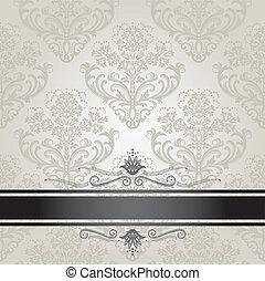 floreale, copertina, lusso, argento